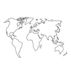 The world map of black contour curves of vector