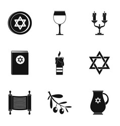 Theism icons set simple style vector