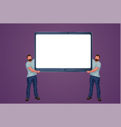 two men holding tablet vector image