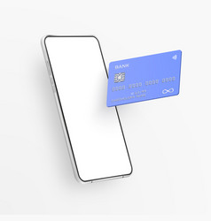 white realistic smartphone and plastic credit card vector image
