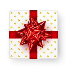 white square gift box with big shiny red bow vector image