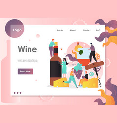 wine website landing page design template vector image