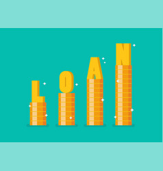 word loan on step stack coins as graph up vector image