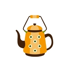Yellow Spotted Metal Kettle With Handle Camping vector image
