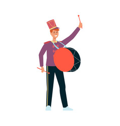 Young man in parade costume with drum in flat vector