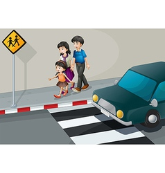 A family walking at the street vector image vector image