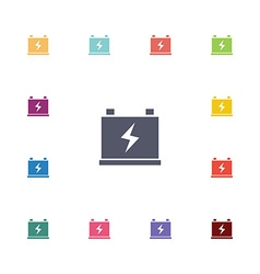 accumulator flat icons set vector image vector image