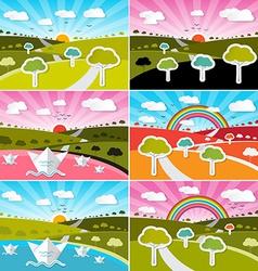 Landscape Field Set - Flat Design Nature wit vector image vector image