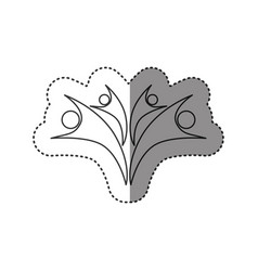 sticker of monochrome abstract contour of family vector image vector image