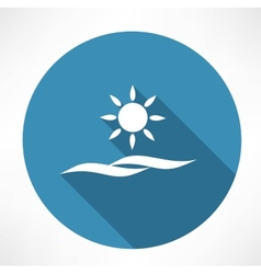 sun and sea icon vector image