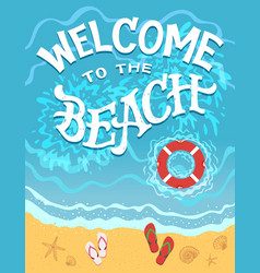 welcome to the beach hand drawn vector image