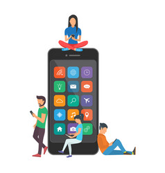 young children are near a large smartphone and vector image