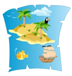 Island on card vector image vector image