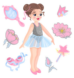 little ballerina and other vector image