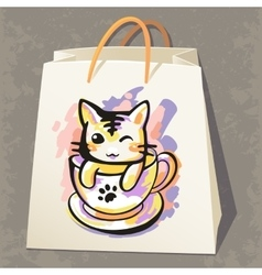 Paper bag with cat vector image vector image