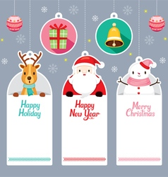 Tags Set With Santa Reindeer Snowman vector image