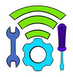 tools and wifi icon cartoon vector image