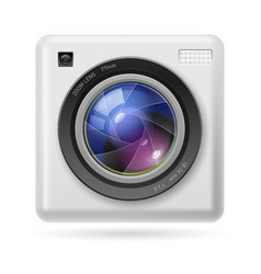 white camera icon lens on white background vector image vector image