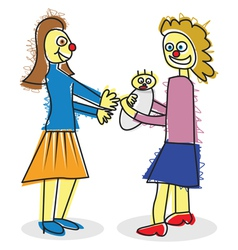 a child like mum and baby vector image vector image