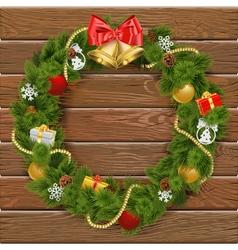 Christmas wreath on wooden board 2 vector