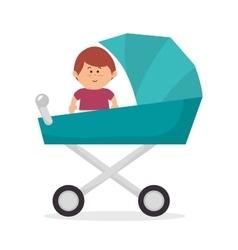 Cute baby on pram vector image vector image