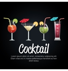 set cocktail glass with black background design vector image