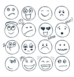 set of hand drawn faces moods isolated vector image vector image