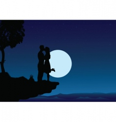 sunset kissing into the night vector image vector image
