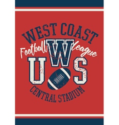 West Coast football league jersey poster vector image vector image