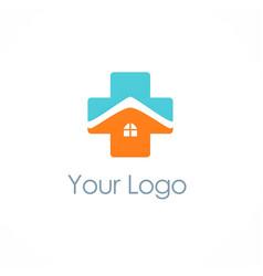 cross medic house hospital logo vector image vector image