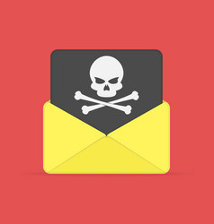envelope and document with skull vector image
