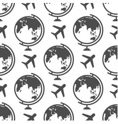 globe and airplane seamless pattern - or travel vector image vector image