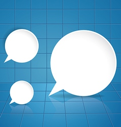 Round speech bubble on blue tile background vector image vector image