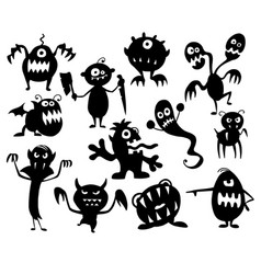 set of cute halloween monster silhouettes vector image