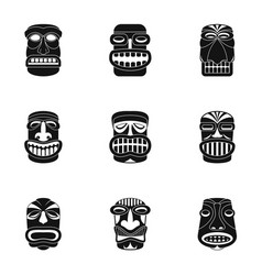 african people icons set simple style vector image