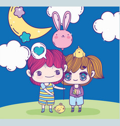 Anime cute boy and girl with balloon shaped rabbit vector