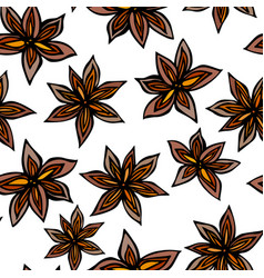 anise star seed seamless endless pattern seasonal vector image