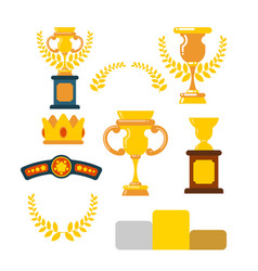 awards winner set cups and olive branch prize of vector image