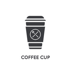 Bakery shop coffee cup glyph element or icon vector
