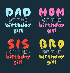 Birthday girl graphic desgins set for t-shirt vector