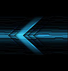 Blue metallic arrow direction on dark circuit vector