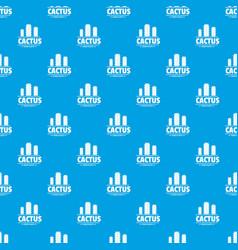 botany cactus pattern seamless blue vector image