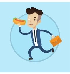 Businessman eating hot dog on the run vector