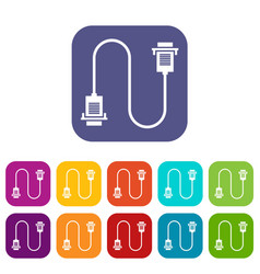 Cable wire computer icons set vector