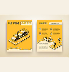 Car towing road service isometric brochure vector