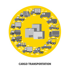 Cargo transportation round concept with different vector