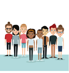 Cartoon differents group people community culture vector