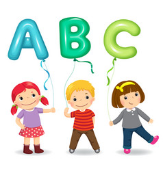 Cartoon kids holding letter abc shaped balloons vector