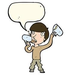 cartoon man drinking beer with speech bubble vector image