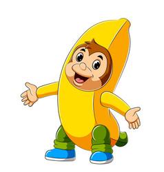 cartoon monkey wearing banana costume vector image